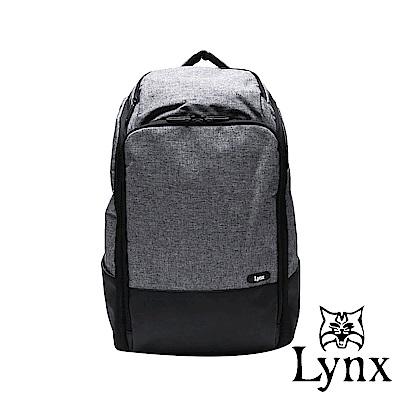 Lynx -美國山貓 職人商務休閒防潑水多隔層筆電後背包-灰色