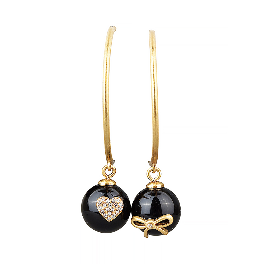 kate spade經典珍珠設計鑽鑲飾大耳環穿式耳環(金X黑)