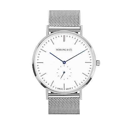 Rossling&Co. 加拿大品牌 單眼系列 白錶盤x銀色錶框米蘭錶帶40mm
