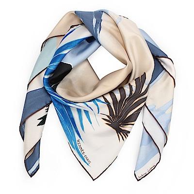 HERMES Au Bout du Monde神秘幽谷真絲披肩方型絲巾-粉膚/藍
