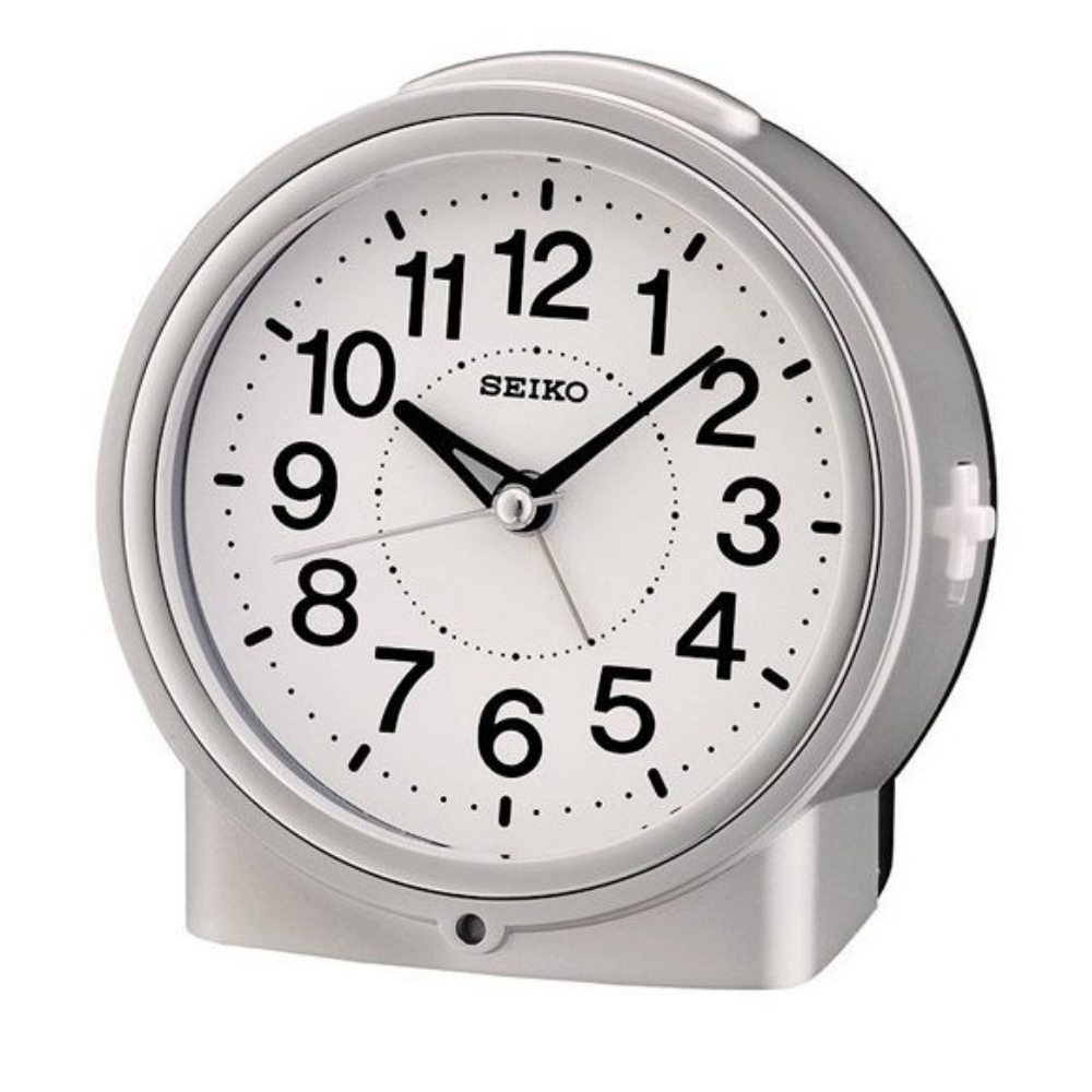 SEIKO 精工 滑動式秒針 嗶嗶聲 靜音 貪睡鬧鐘(QHE117S)銀/12X11cm
