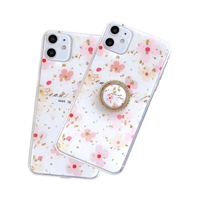iPhone 12 mini 可愛 粉色小花 金箔 軟邊 手機殼 四邊 防摔 粉色小花 附 手機支架 (iPhone12mini手機殼 iPhone 12 mini保護殼 )