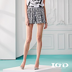 IGD英格麗 字母幾何印花螺紋拼接短褲-白色