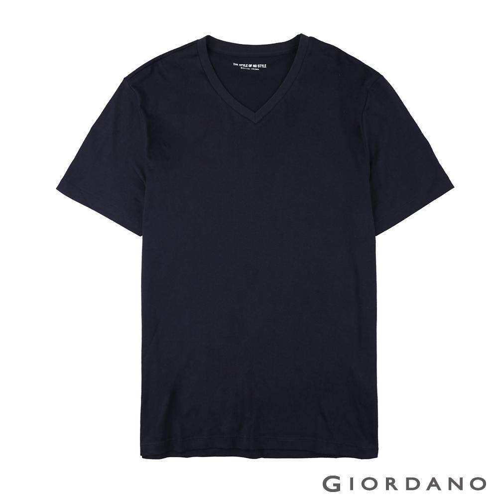 GIORDANO 男裝棉質V領素色T恤-04 標誌海軍藍