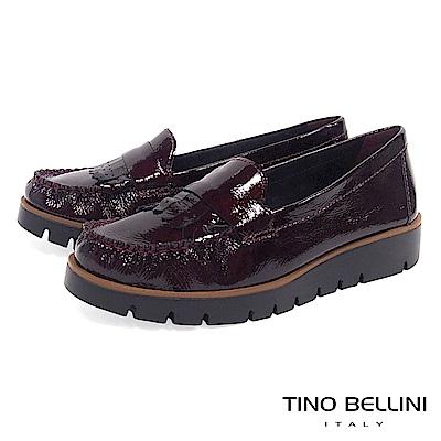 Tino Bellini 巴西進口輕量金屬皮紋莫卡辛鞋 _ 酒紅