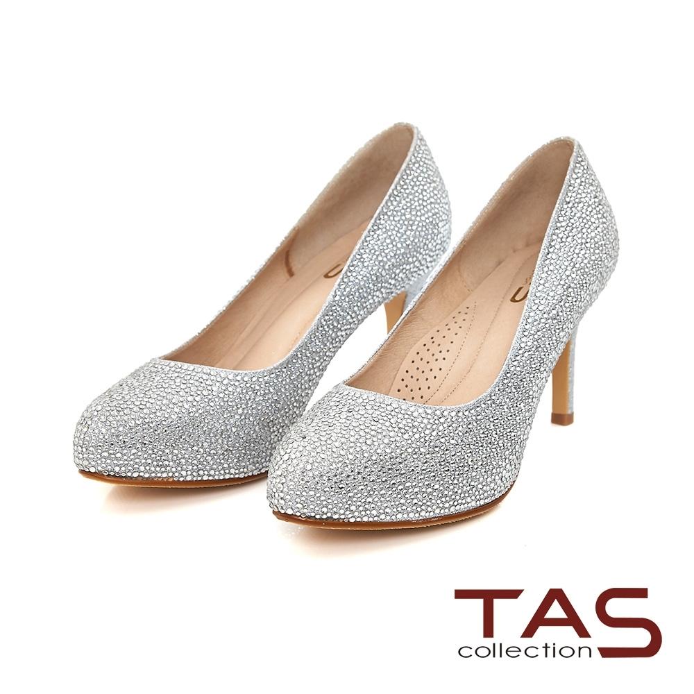 TAS華麗水鑽光澤感高跟鞋-璀璨銀