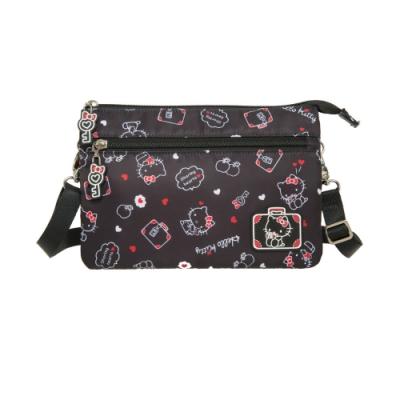 【Hello Kitty】凱蒂漫旅-三層側背包-黑 KT01T06BK