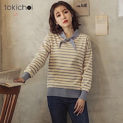 東京著衣 活力洋溢領結綁帶條紋針織上衣(共二色)