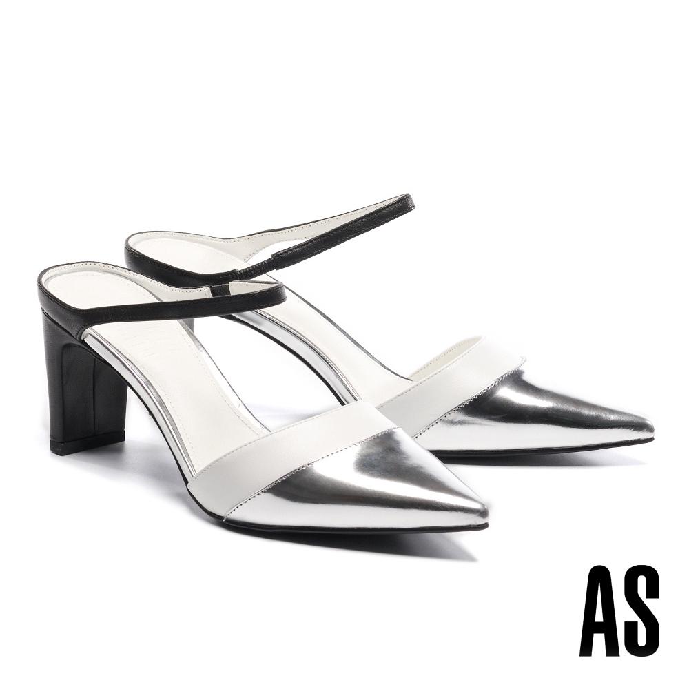 穆勒鞋 AS 金屬科幻未來撞色尖頭高跟拖鞋-黑