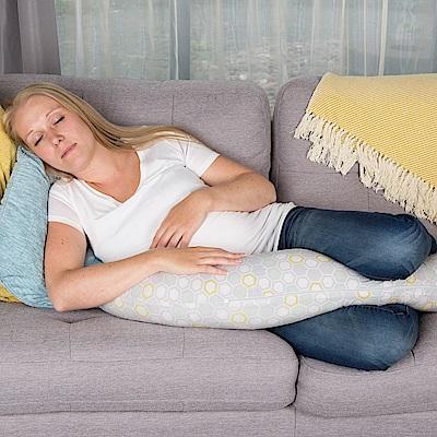 英國CuddleCo 彎月型竹纖維孕婦側睡枕-灰格蜜蜂