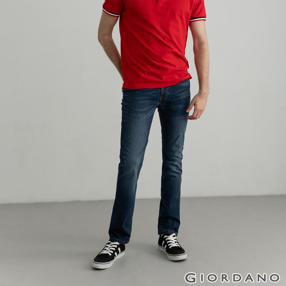GIORDANO  男裝超彈力中腰窄管牛仔褲 - 11 深藍