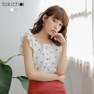 東京著衣 清甜可人滿版印花方領荷葉袖口上衣-S.M.L(共兩色)