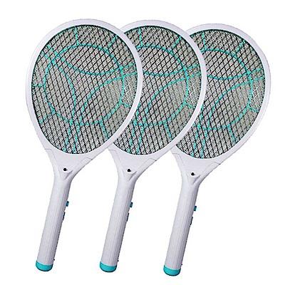 (3入組)KINYO LED充電式三層防觸電捕蚊拍電蚊拍(CM-2235)蚊蠅跑不掉