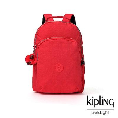 Kipling 亮橘色素面雙層後背包-GOULDI
