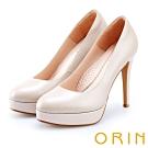 ORIN 時尚魅力 簡約剪裁素面真皮高跟鞋-粉色