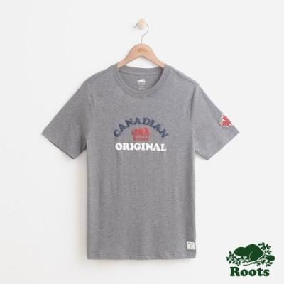 男裝Roots 原創加拿大短袖T恤-灰色