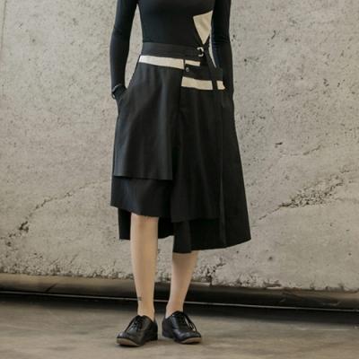 設計所在Style-秋季新款黑白拼接割邊個性不規則層次中長裙
