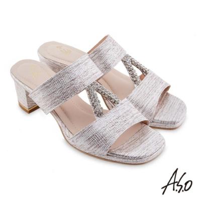 A.S.O 時尚流行 摩登時尚金屬質感粗跟涼鞋-白