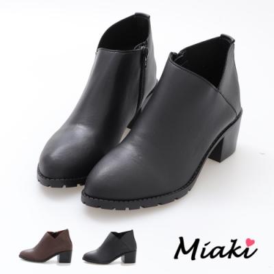 Miaki-踝靴-時尚V字美型中跟短靴