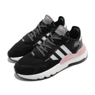 adidas 休閒鞋 Nite Jogger W 復古 女鞋 海外限定 愛迪達 三葉草 反光 球鞋穿搭 黑 粉 FV3880