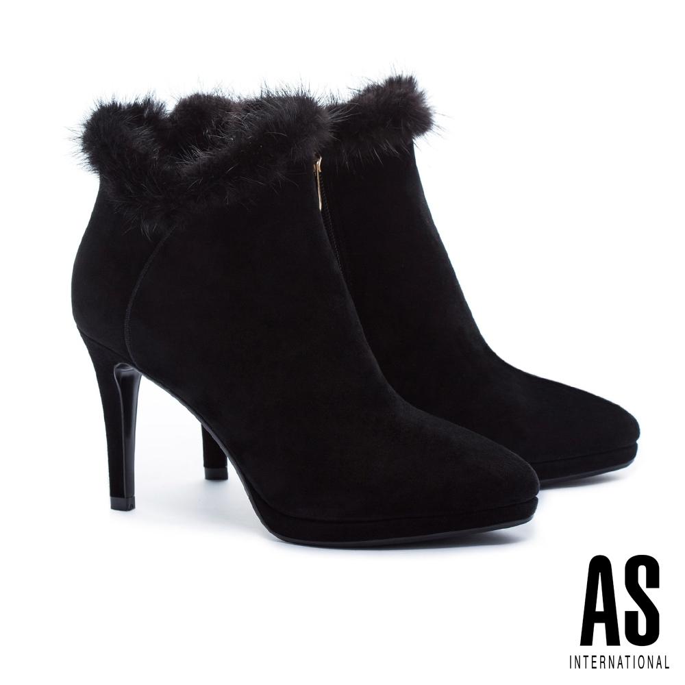 短靴 AS 輕奢優雅水貂毛全真皮高跟短靴-黑