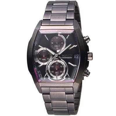 WIRED 日系潮流炫彩三眼計時酒桶型腕錶 VR33-0AB0P(AY8012X1)-39x37mm