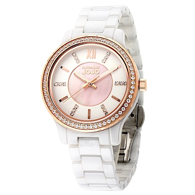 NATURALLY JOJO 晶彩看世界陶瓷腕錶-玫瑰金