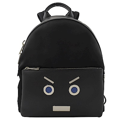 FENDI 可愛表情造型牛皮拉鍊後背包(黑)