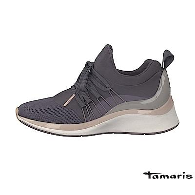 TAMARIS(女) Fashletics 系列 引帶高底異材質時尚運動鞋 - 灰藍