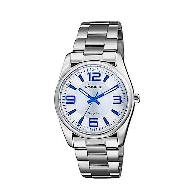 LICORNE 力抗錶 都會款 簡約風格手錶 白×藍×銀/36mm