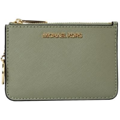 MICHAEL KORS JET SET卡片吊飾金字LOGO零錢卡夾包-綠