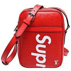 LV M53417 SUPREME限量聯名款經典EPI牛皮拉鍊肩/斜背包(紅)