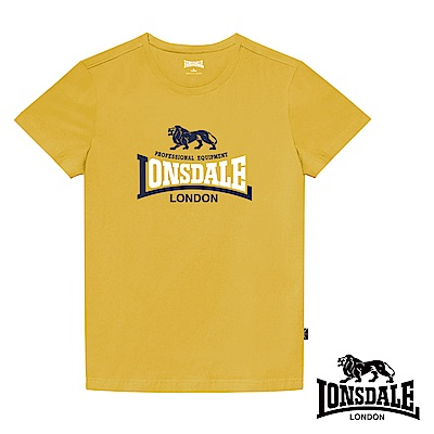 【LONSDALE 英國小獅】經典LOGO短袖T恤-鵝黃LT001