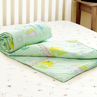 米夢家居-原創夢想家園系列-台灣製造100%精梳純棉兩用被套-青春綠-7X8尺特大