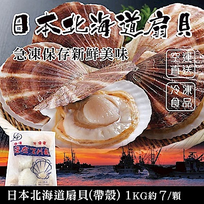 【海陸管家】日本北海道巨無霸半殼扇貝(每包7顆/共約1kg) x1包