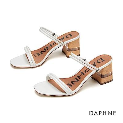 達芙妮DAPHNE 涼鞋-簡約細帶木紋拚接透明粗跟涼拖鞋-白色