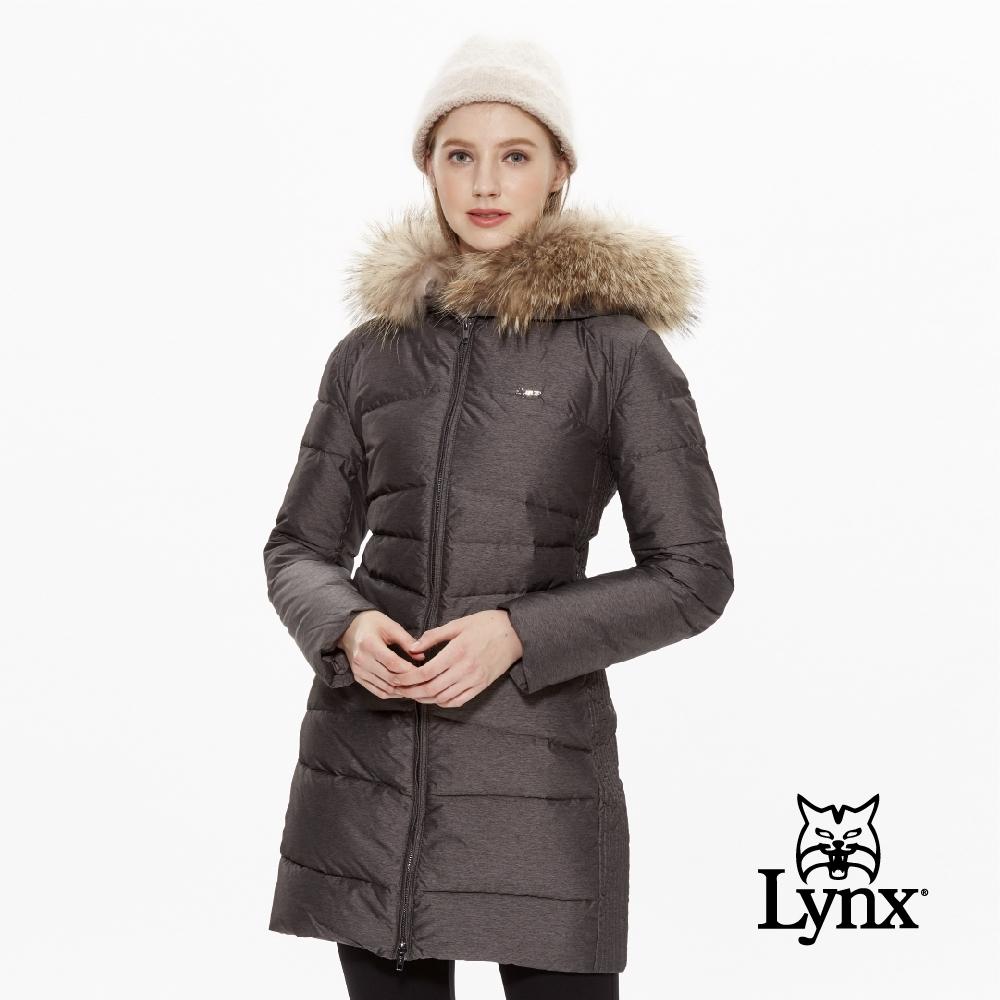 【Lynx Golf】女款可拆式毛條長版修身羽絨長袖外套-深灰色
