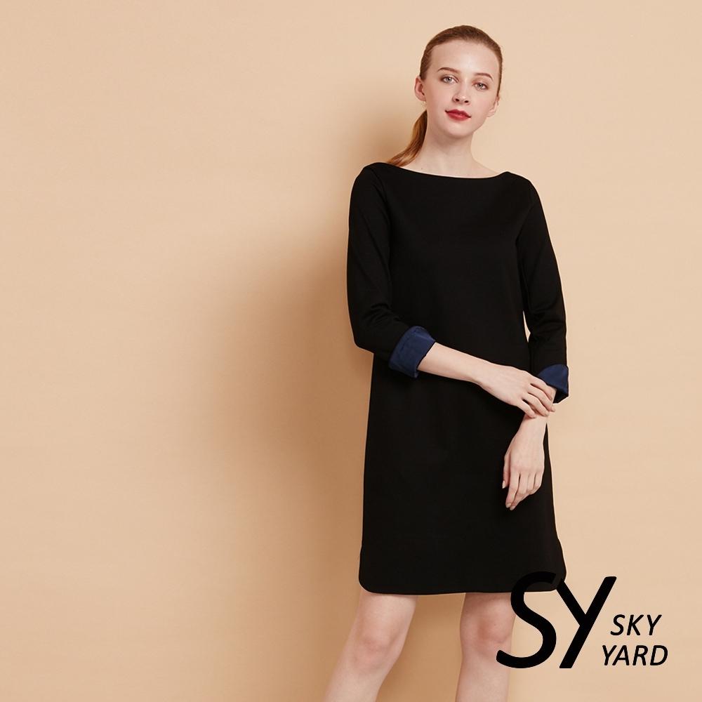【SKY YARD 天空花園】簡約素面寬領九分袖洋裝-黑色