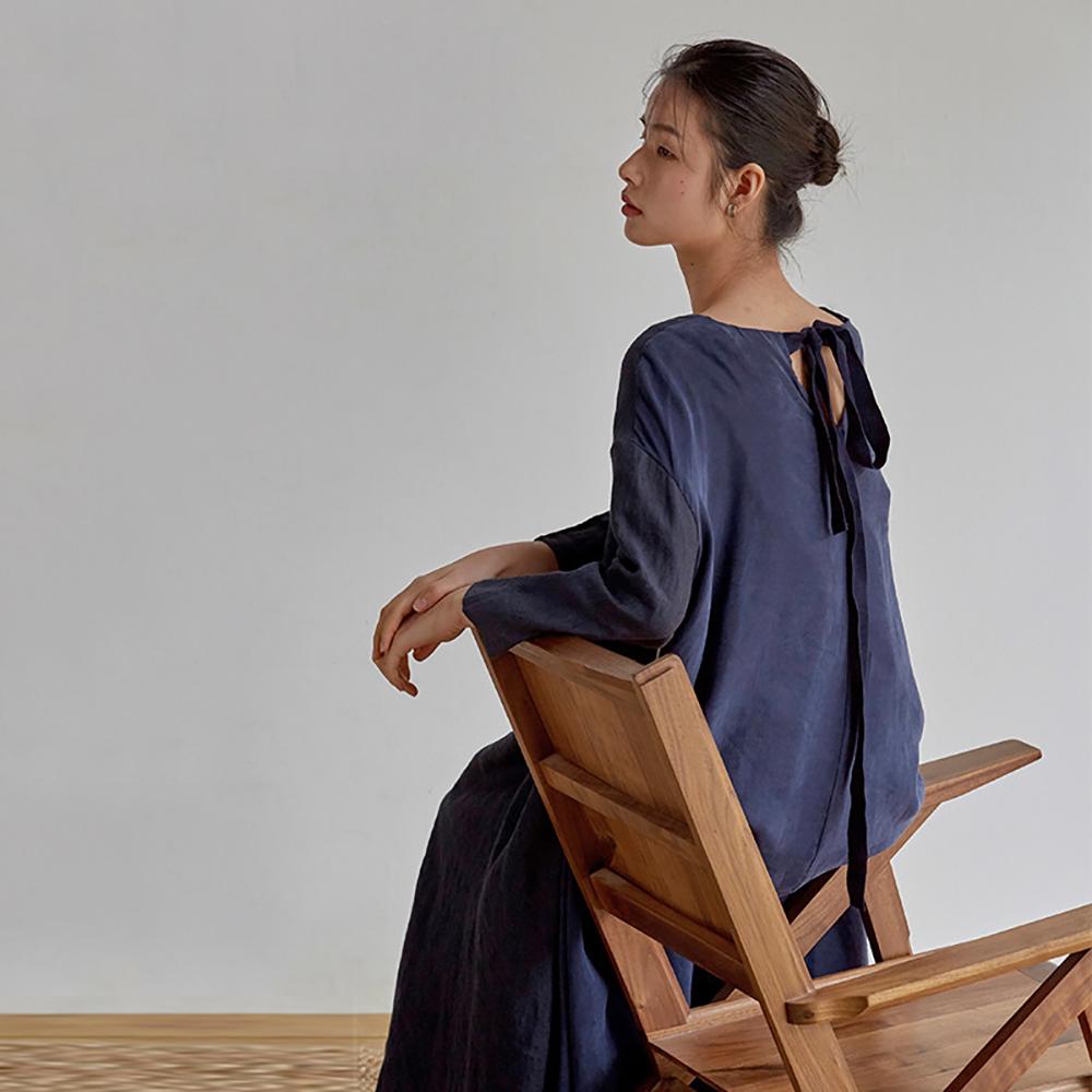 旅途原品_深海_原創設計亞麻銅氨絲輕運動連衣裙-藏藍色