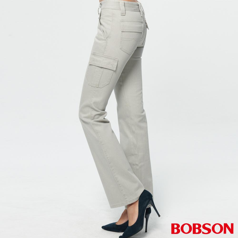 BOBSON 女款超低腰貼口袋伸縮中喇叭褲