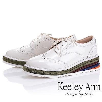 Keeley Ann魔法秘密 真皮撞色延條厚底牛津鞋(米白色-Ann系列)