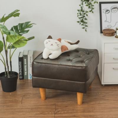 完美主義 復古風皮質椅凳/單人沙發-50X50X39