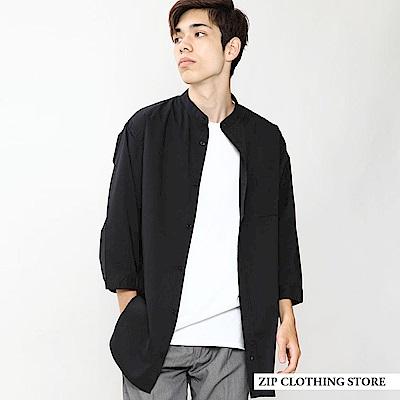 七分袖襯衫立領素色(3色) ZIP日本男裝