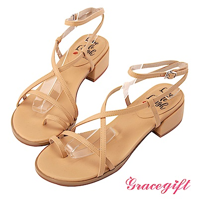 Grace gift X Kerina-聯名羅馬交叉細帶低跟涼鞋 杏
