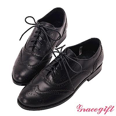 Grace gift-全真皮經典雕花綁帶牛津鞋 黑