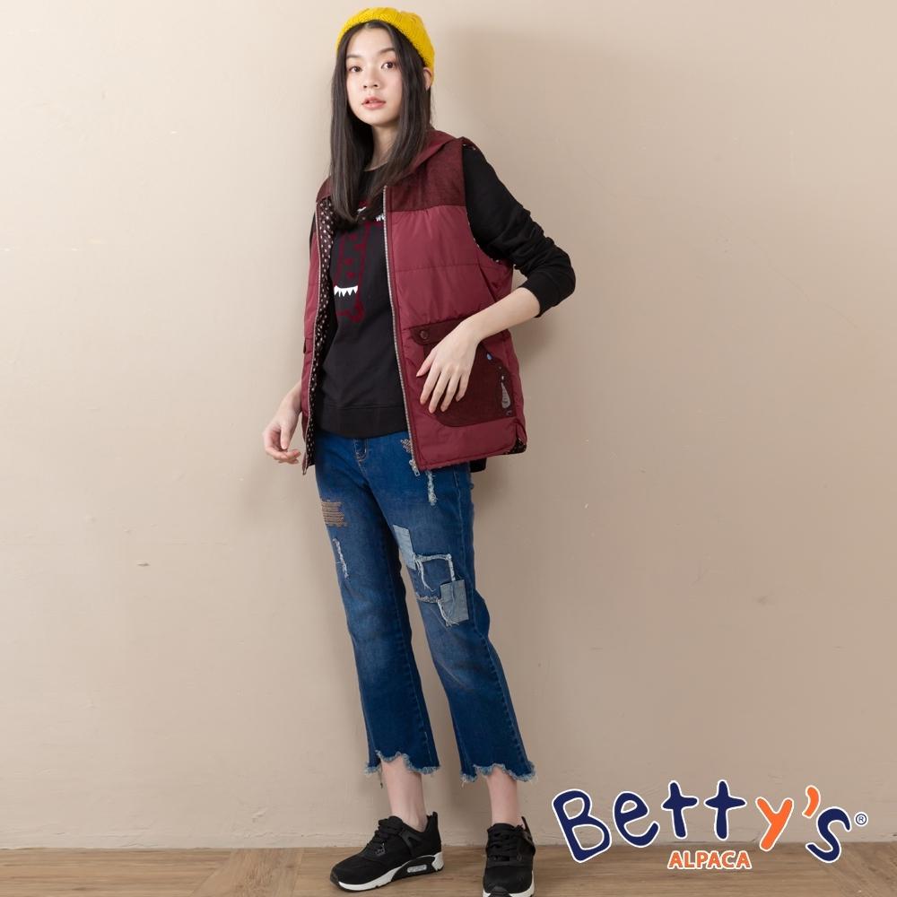 betty's貝蒂思 方塊造型刺繡抽鬚牛仔褲(深藍)