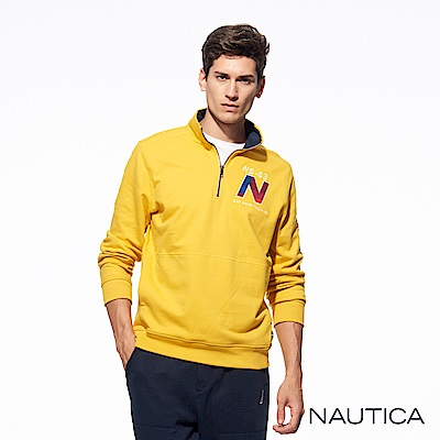 Nautica經典運動風立領拉鏈針織衣-黃色