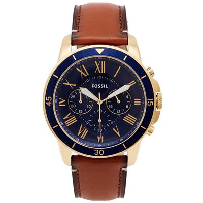 FOSSIL 羅馬優雅風計時的皮帶手錶(FS5268)-藍色面X咖啡色/44mm