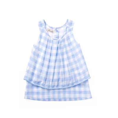 小雛菊 MARGUERITE 藍格球球短裙套裝 (90cm~120cm)