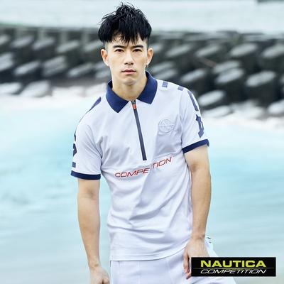 Nautica COMPETITION男裝酷炫連肩半開襟短袖POLO衫-白